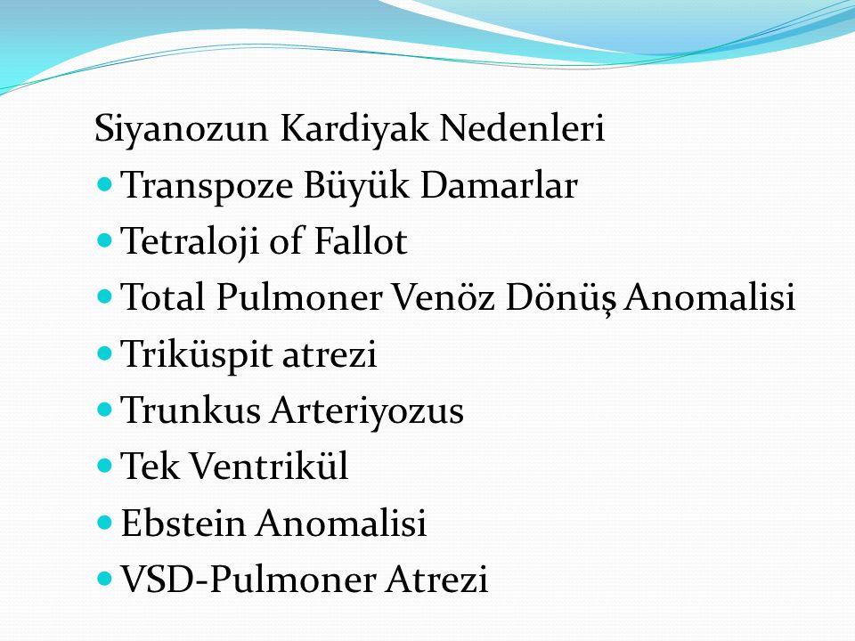 Siyanozun Kardiyak Nedenleri Transpoze Büyük Damarlar Tetraloji of Fallot Total Pulmoner Venöz Dönüş Anomalisi Triküspit atrezi Trunkus Arteriyozus Tek Ventrikül Ebstein Anomalisi VSD-Pulmoner Atrezi