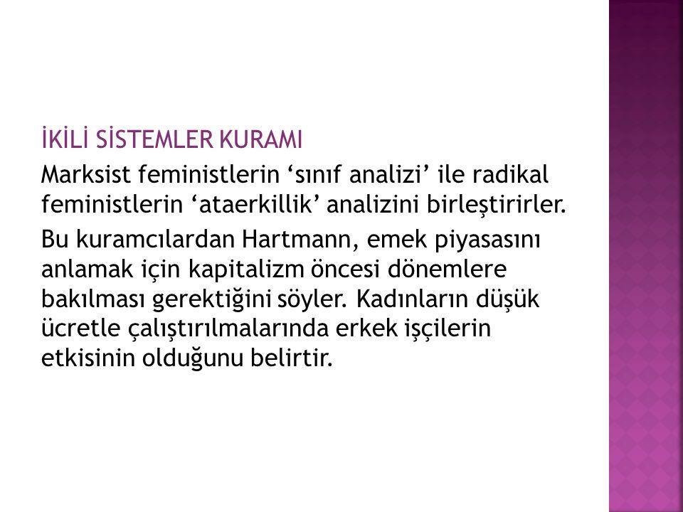 İKİLİ SİSTEMLER KURAMI Marksist feministlerin 'sınıf analizi' ile radikal feministlerin 'ataerkillik' analizini birleştirirler. Bu kuramcılardan Hartm