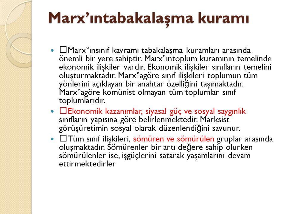 """Marx'ıntabakalaşma kuramı  Marx """" ınsınıf kavramı tabakalaşma kuramları arasında önemli bir yere sahiptir. Marx """" ıntoplum kuramının temelinde ekonom"""