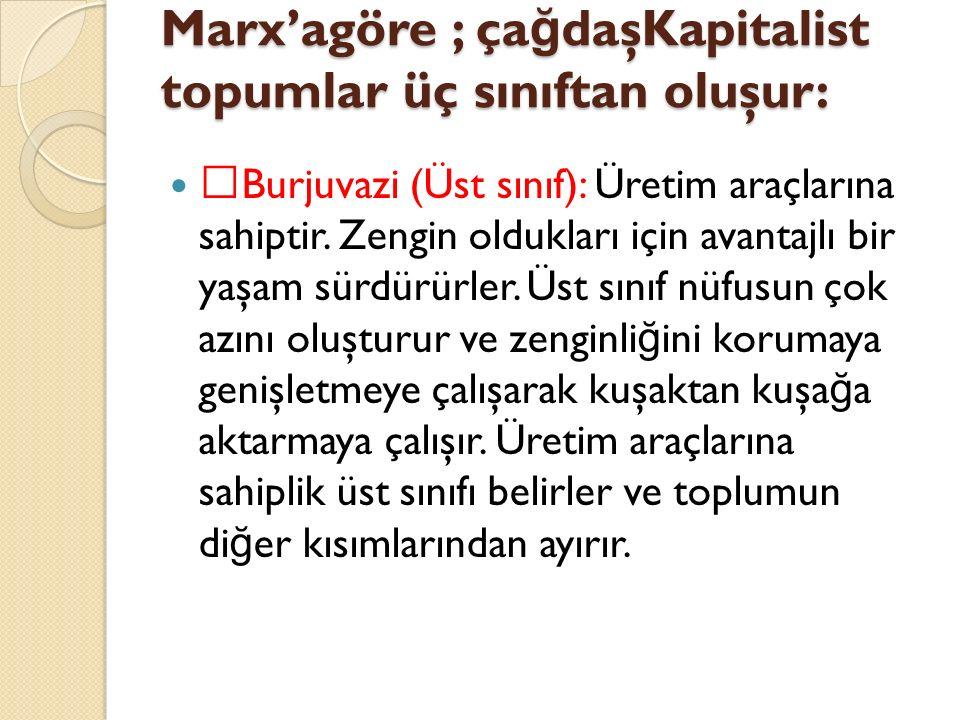 Marx'agöre ; ça ğ daşKapitalist topumlar üç sınıftan oluşur:  Burjuvazi (Üst sınıf): Üretim araçlarına sahiptir. Zengin oldukları için avantajlı bir