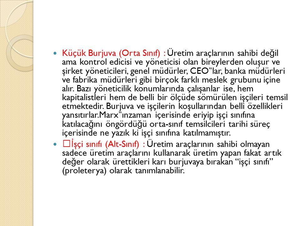 Küçük Burjuva (Orta Sınıf) : Üretim araçlarının sahibi de ğ il ama kontrol edicisi ve yöneticisi olan bireylerden oluşur ve şirket yöneticileri, genel