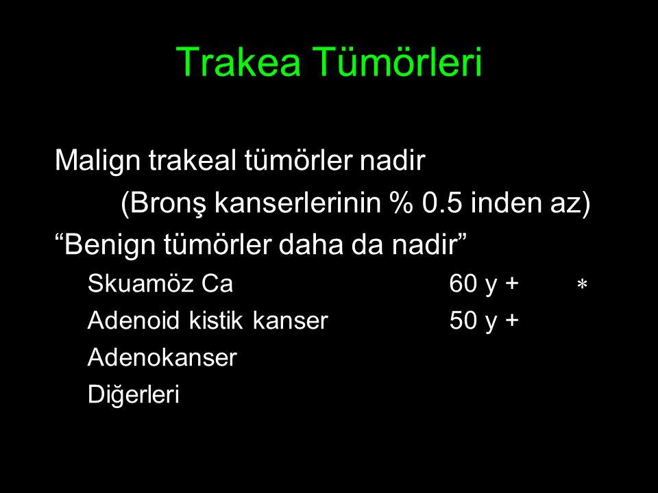 Trakea Tümörleri Malign trakeal tümörler nadir (Bronş kanserlerinin % 0.5 inden az) Benign tümörler daha da nadir Skuamöz Ca60 y +  Adenoid kistik kanser50 y + Adenokanser Diğerleri
