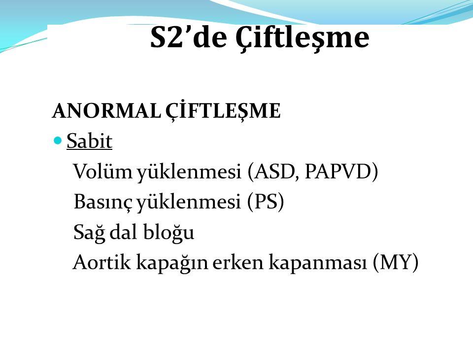 S2'de Çiftleşme ANORMAL ÇİFTLEŞME Sabit Volüm yüklenmesi (ASD, PAPVD) Basınç yüklenmesi (PS) Sağ dal bloğu Aortik kapağın erken kapanması (MY)