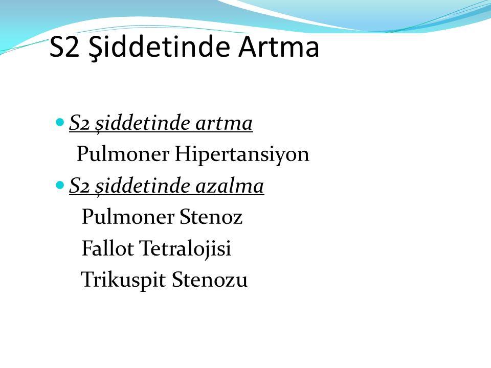 S2 Şiddetinde Artma S2 şiddetinde artma Pulmoner Hipertansiyon S2 şiddetinde azalma Pulmoner Stenoz Fallot Tetralojisi Trikuspit Stenozu