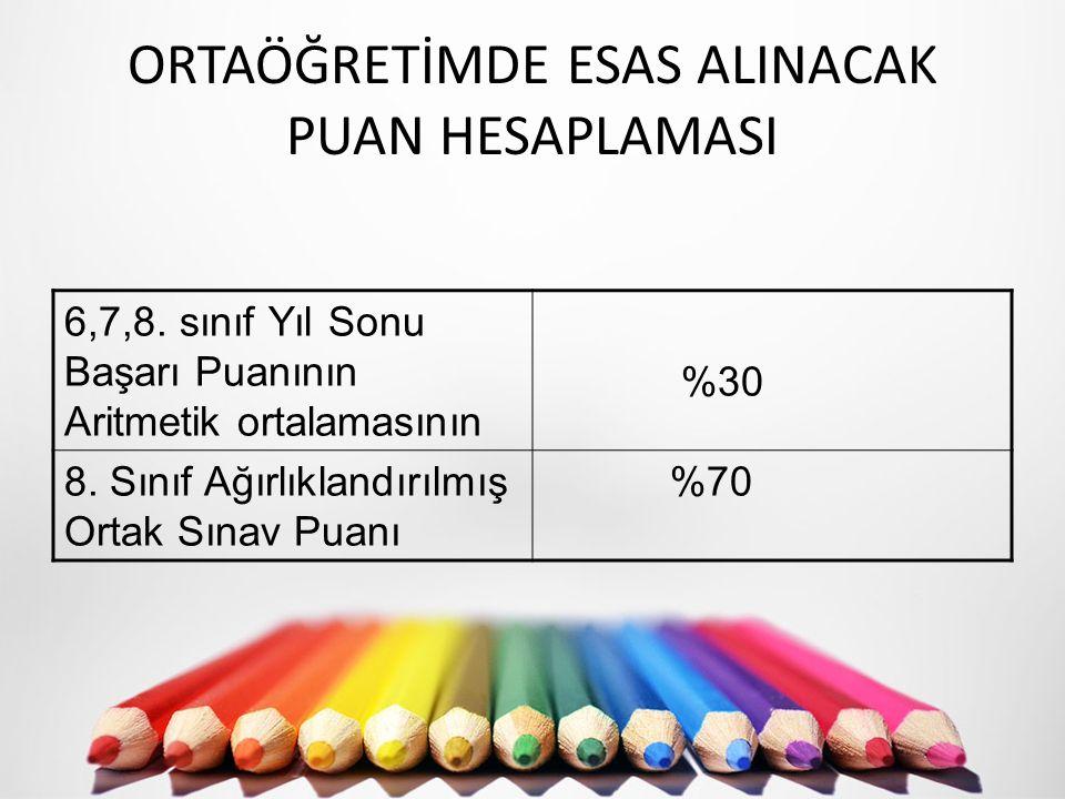 ORTAÖĞRETİMDE ESAS ALINACAK PUAN HESAPLAMASI 6,7,8.