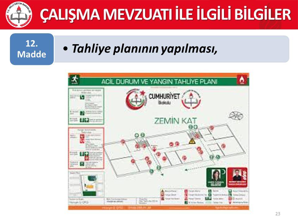 Tahliye planının yapılması, 12. Madde 23 ÇALIŞMA MEVZUATI İLE İLGİLİ BİLGİLER
