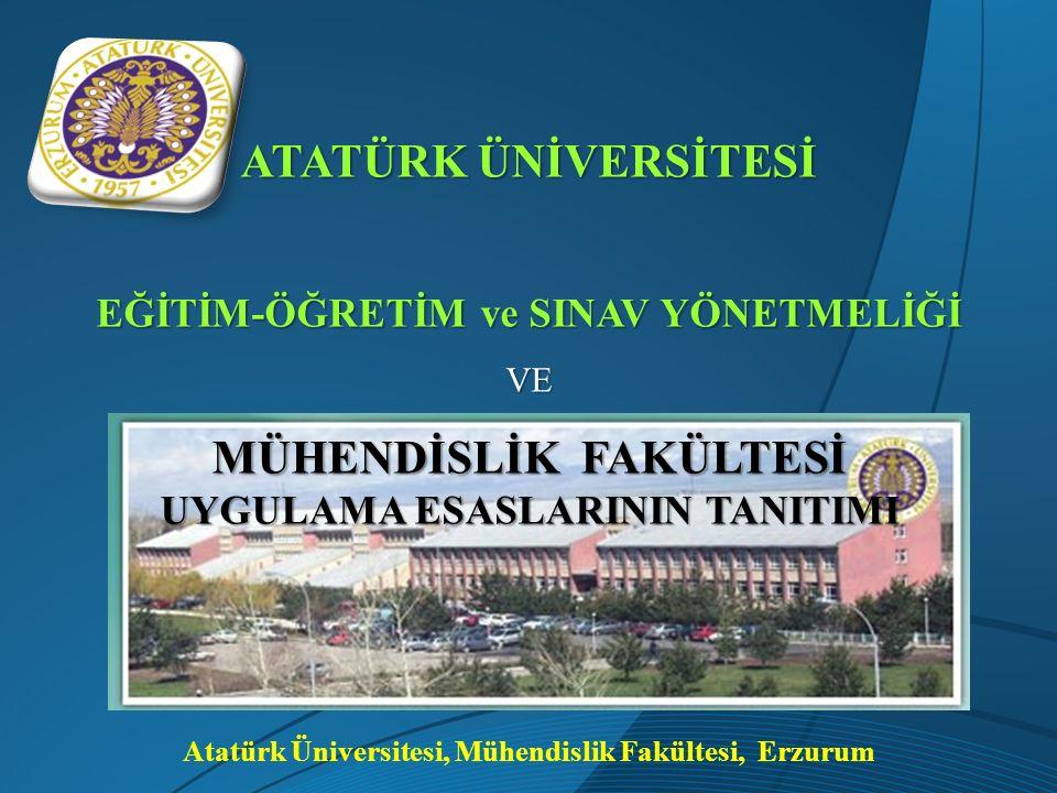 Atatürk Üniversitesi, Mühendislik Fakültesi, Erzurum ATATÜRK ÜNİVERSİTESİ EĞİTİM-ÖĞRETİM ve SINAV YÖNETMELİĞİ VE MÜHENDİSLİK FAKÜLTESİ UYGULAMA ESASLA