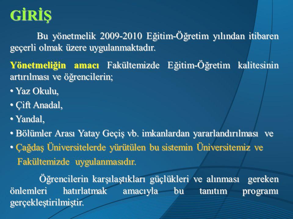 GİRİŞ Bu yönetmelik 2009-2010 Eğitim-Öğretim yılından itibaren geçerli olmak üzere uygulanmaktadır. Bu yönetmelik 2009-2010 Eğitim-Öğretim yılından it
