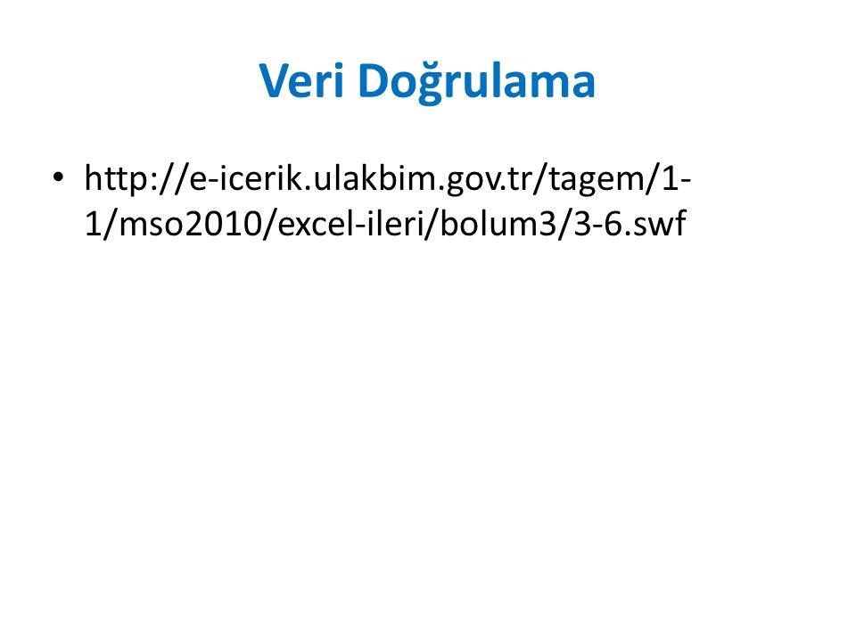 Veri Doğrulama http://e-icerik.ulakbim.gov.tr/tagem/1- 1/mso2010/excel-ileri/bolum3/3-6.swf