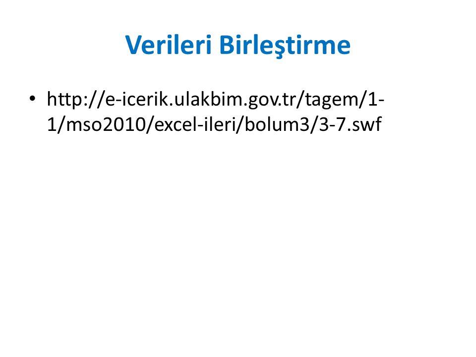 Verileri Birleştirme http://e-icerik.ulakbim.gov.tr/tagem/1- 1/mso2010/excel-ileri/bolum3/3-7.swf