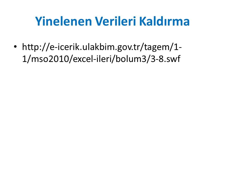 Yinelenen Verileri Kaldırma http://e-icerik.ulakbim.gov.tr/tagem/1- 1/mso2010/excel-ileri/bolum3/3-8.swf