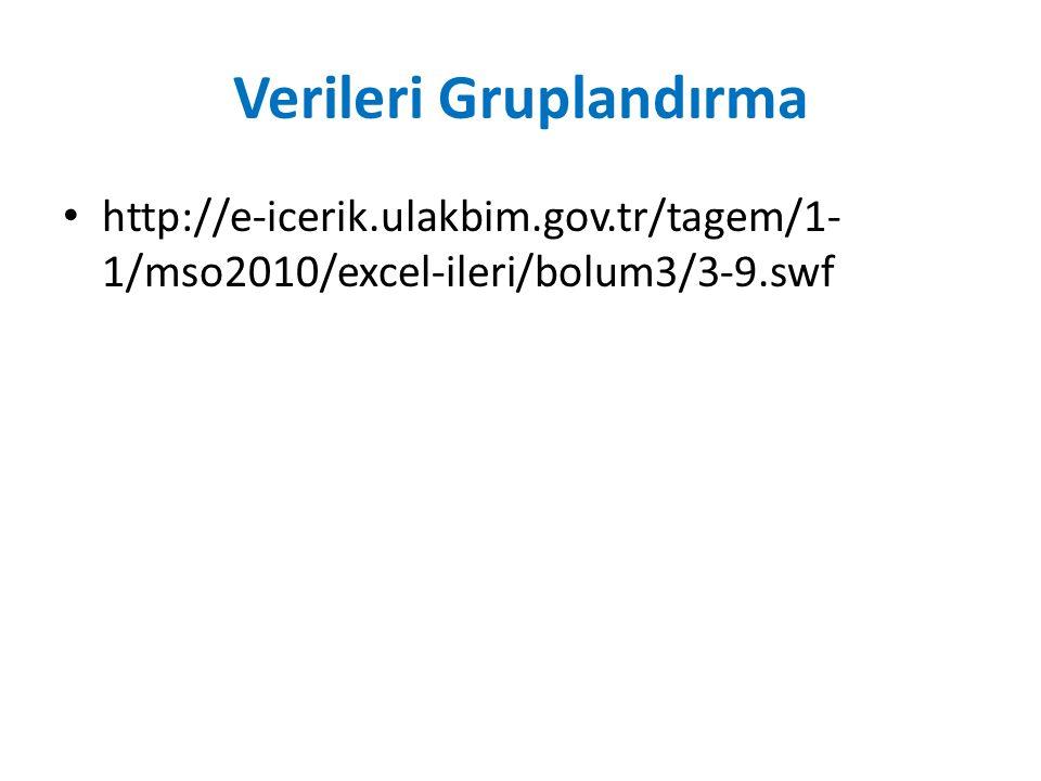 Verileri Gruplandırma http://e-icerik.ulakbim.gov.tr/tagem/1- 1/mso2010/excel-ileri/bolum3/3-9.swf