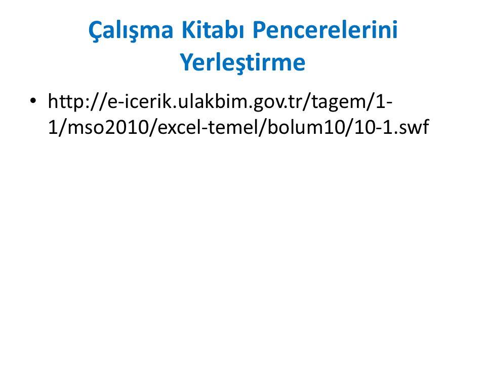 Çalışma Kitabı Pencerelerini Yerleştirme http://e-icerik.ulakbim.gov.tr/tagem/1- 1/mso2010/excel-temel/bolum10/10-1.swf