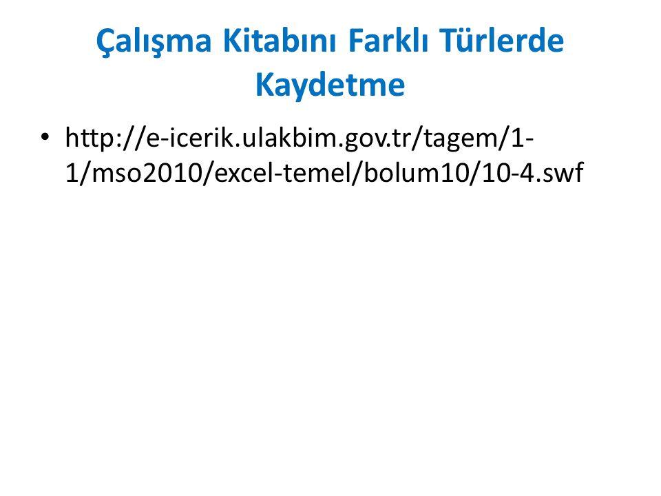 Çalışma Kitabını Farklı Türlerde Kaydetme http://e-icerik.ulakbim.gov.tr/tagem/1- 1/mso2010/excel-temel/bolum10/10-4.swf