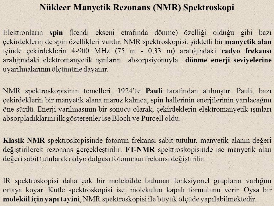 Nükleer Manyetik Rezonans (NMR) Spektroskopi Elektronların spin (kendi ekseni etrafında dönme) özelliği olduğu gibi bazı çekirdeklerin de spin özellik