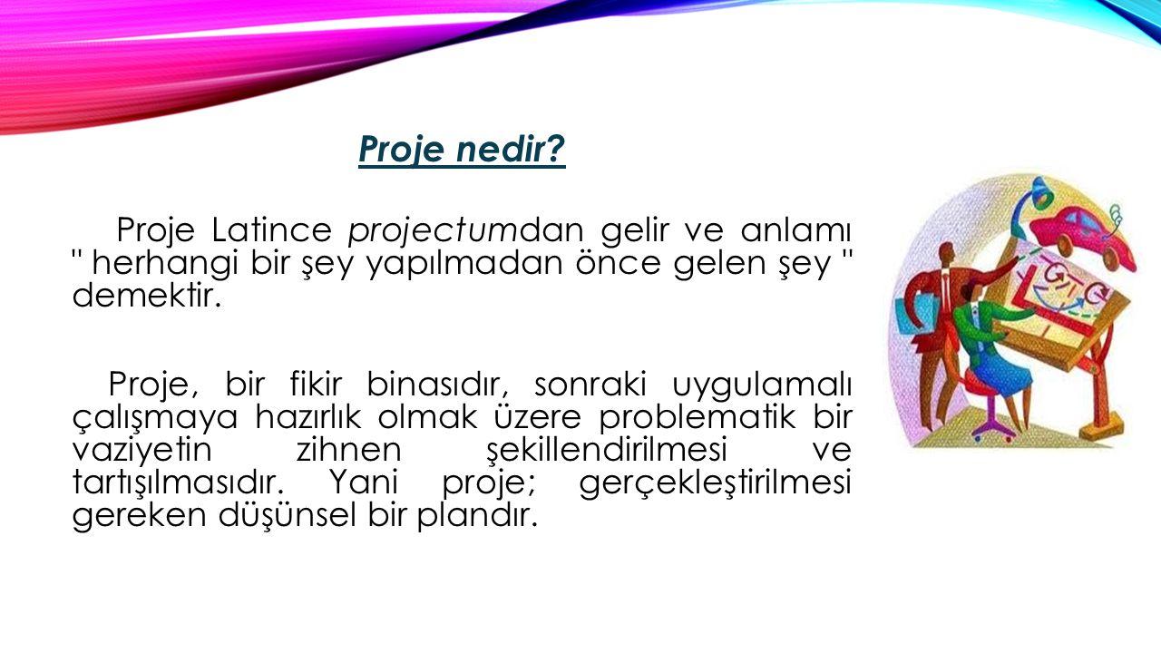 Proje nedir? Proje Latince projectumdan gelir ve anlamı