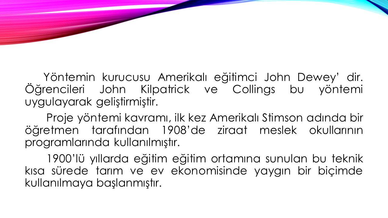 Yöntemin kurucusu Amerikalı eğitimci John Dewey' dir. Öğrencileri John Kilpatrick ve Collings bu yöntemi uygulayarak geliştirmiştir. Proje yöntemi kav