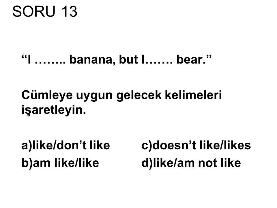 SORU 13 I …….. banana, but I……. bear. Cümleye uygun gelecek kelimeleri işaretleyin.