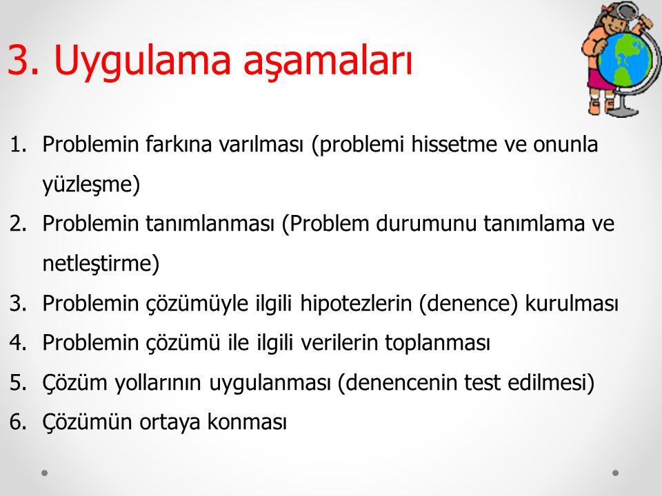 1.Problemin farkına varılması (problemi hissetme ve onunla yüzleşme) 2.Problemin tanımlanması (Problem durumunu tanımlama ve netleştirme) 3.Problemin