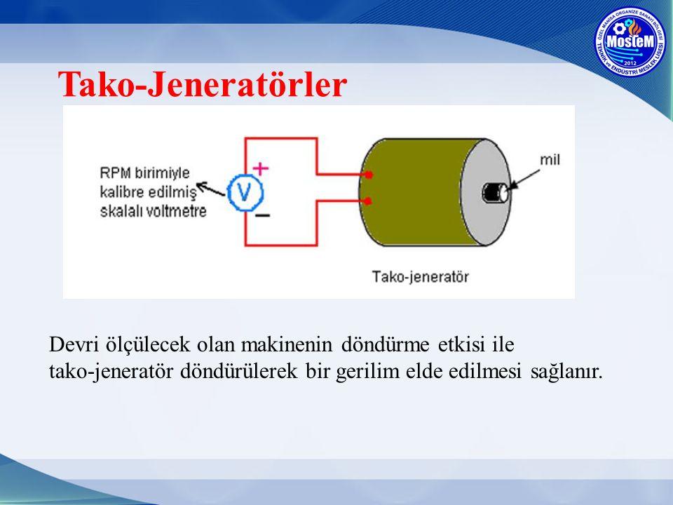 Tako-Jeneratörler Devri ölçülecek olan makinenin döndürme etkisi ile tako-jeneratör döndürülerek bir gerilim elde edilmesi sağlanır.