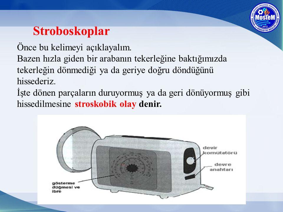 Stroboskoplar Önce bu kelimeyi açıklayalım. Bazen hızla giden bir arabanın tekerleğine baktığımızda tekerleğin dönmediği ya da geriye doğru döndüğünü