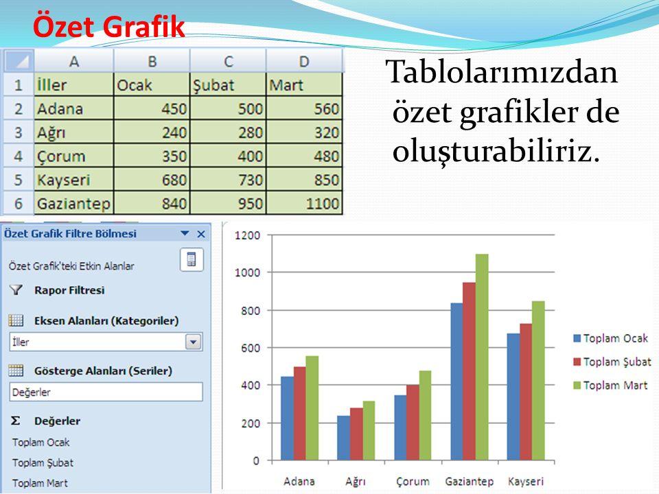 Özet Grafik Tablolarımızdan özet grafikler de oluşturabiliriz.