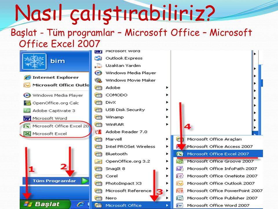 Nasıl çalıştırabiliriz? Başlat - Tüm programlar – Microsoft Office – Microsoft Office Excel 2007