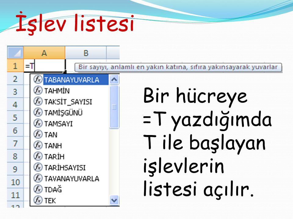 İşlev listesi Bir hücreye =T yazdığımda T ile başlayan işlevlerin listesi açılır.