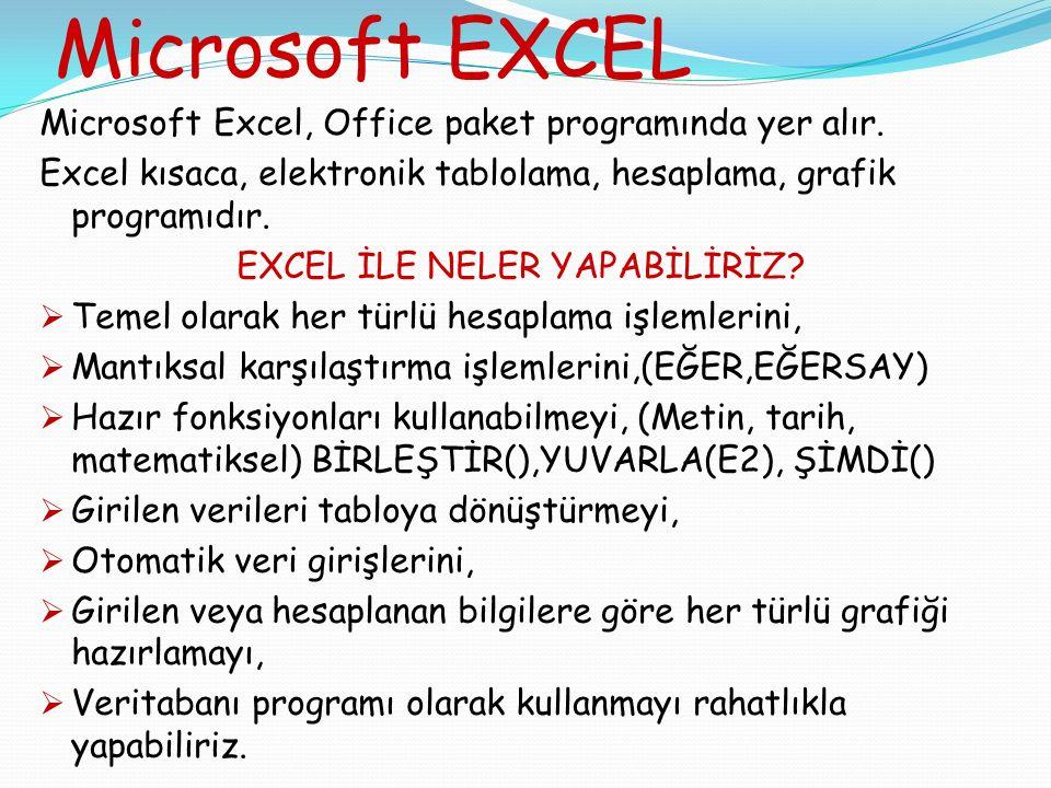 Microsoft EXCEL Microsoft Excel, Office paket programında yer alır.