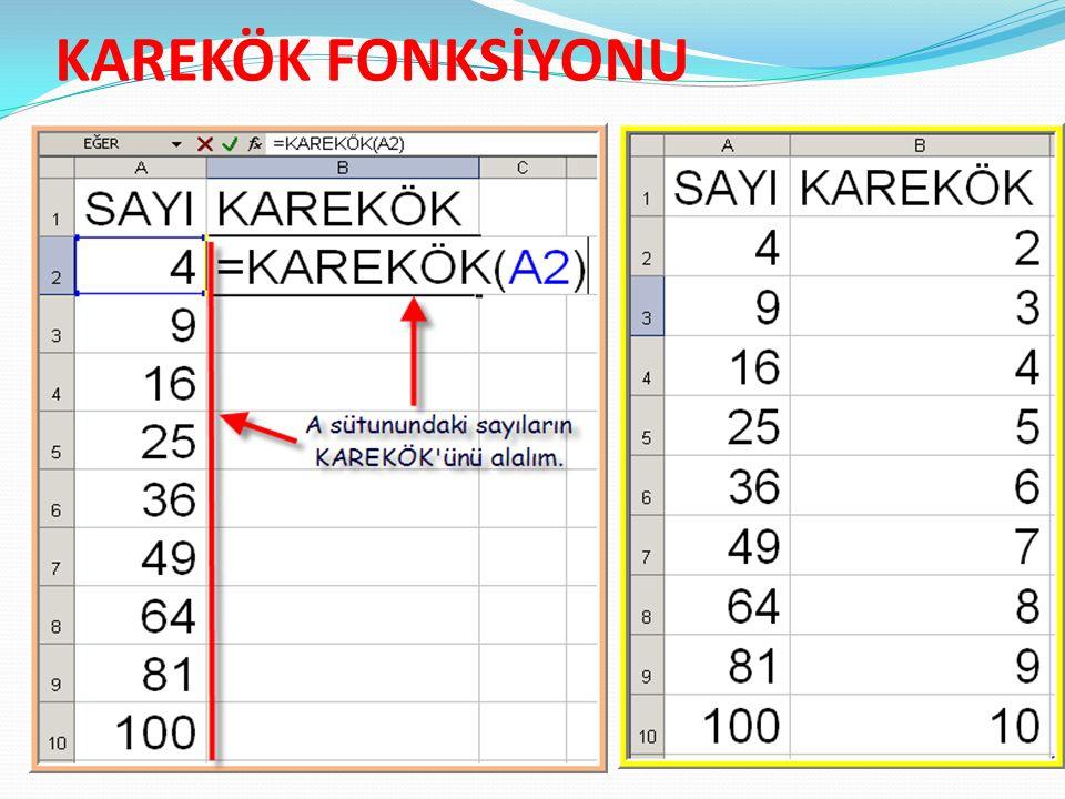 KAREKÖK FONKSİYONU