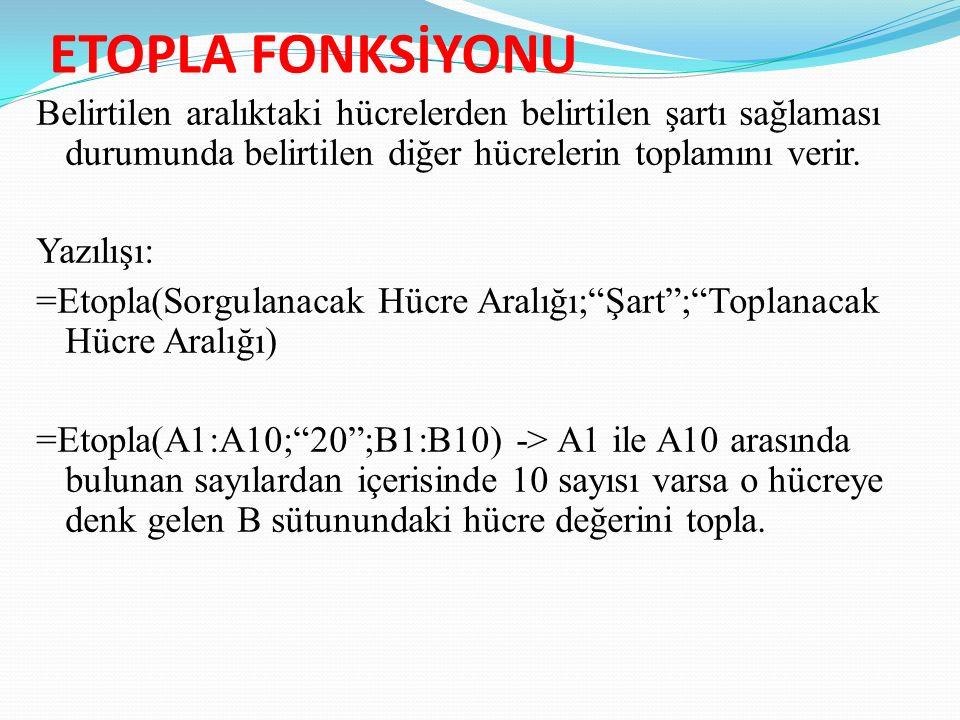 ETOPLA FONKSİYONU Belirtilen aralıktaki hücrelerden belirtilen şartı sağlaması durumunda belirtilen diğer hücrelerin toplamını verir.