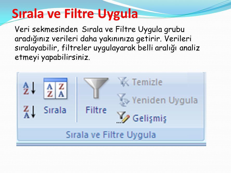 Sırala ve Filtre Uygula Veri sekmesinden Sırala ve Filtre Uygula grubu aradığınız verileri daha yakınınıza getirir.