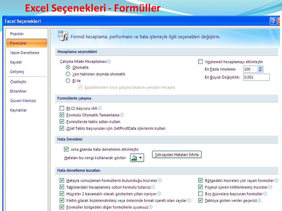Excel Seçenekleri - Formüller