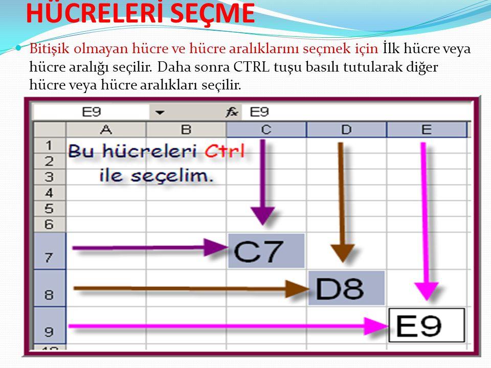 HÜCRELERİ SEÇME Bitişik olmayan hücre ve hücre aralıklarını seçmek için İlk hücre veya hücre aralığı seçilir.