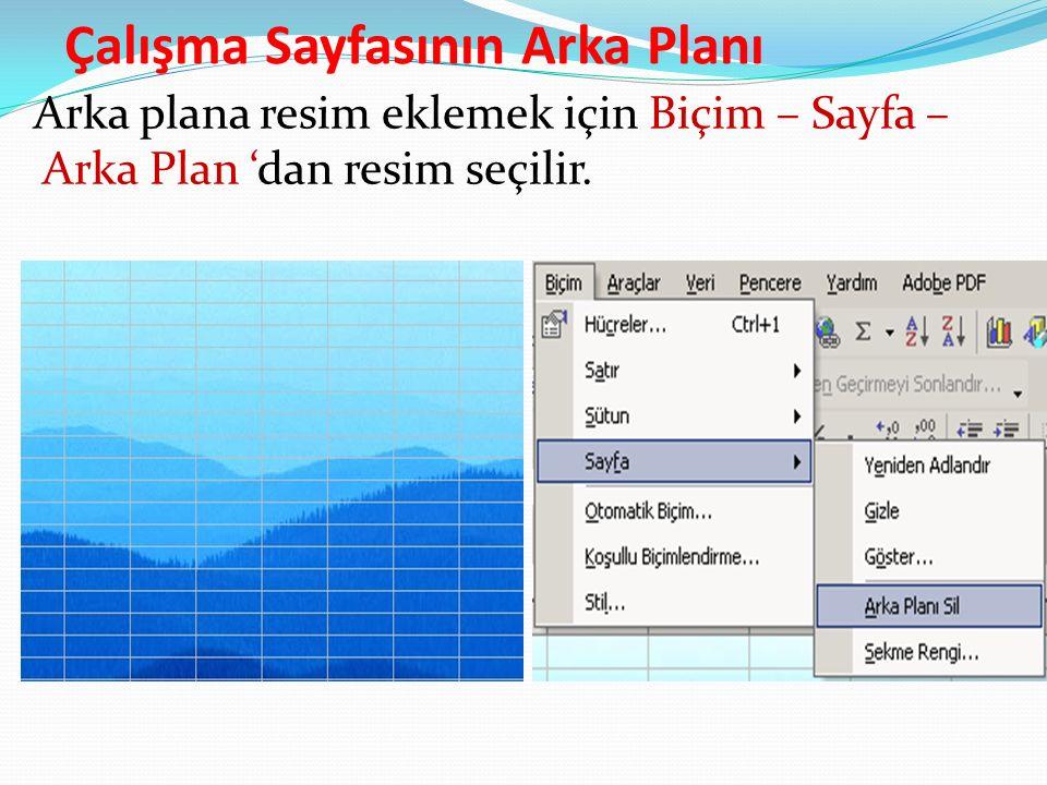 Çalışma Sayfasının Arka Planı Arka plana resim eklemek için Biçim – Sayfa – Arka Plan 'dan resim seçilir.