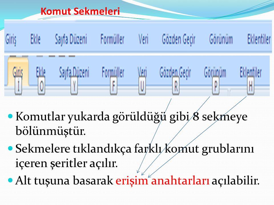 Komut Sekmeleri Komutlar yukarda görüldüğü gibi 8 sekmeye bölünmüştür.