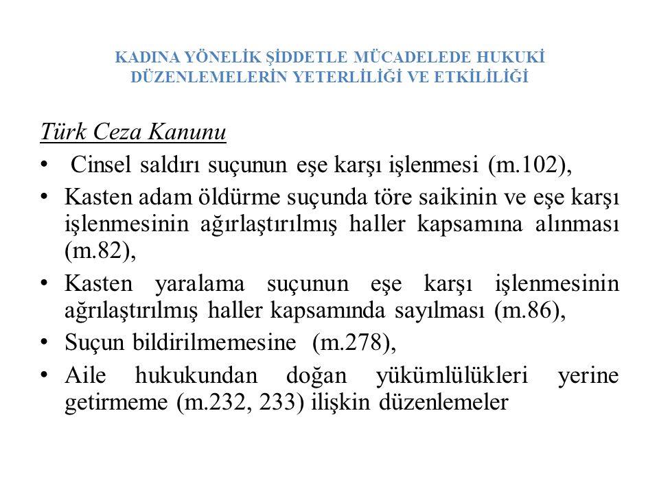 KADINA YÖNELİK ŞİDDETLE MÜCADELEDE HUKUKİ DÜZENLEMELERİN YETERLİLİĞİ VE ETKİLİLİĞİ Türk Ceza Kanunu Cinsel saldırı suçunun eşe karşı işlenmesi (m.102), Kasten adam öldürme suçunda töre saikinin ve eşe karşı işlenmesinin ağırlaştırılmış haller kapsamına alınması (m.82), Kasten yaralama suçunun eşe karşı işlenmesinin ağrılaştırılmış haller kapsamında sayılması (m.86), Suçun bildirilmemesine (m.278), Aile hukukundan doğan yükümlülükleri yerine getirmeme (m.232, 233) ilişkin düzenlemeler