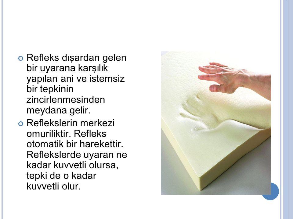 Refleks dışardan gelen bir uyarana karşılık yapılan ani ve istemsiz bir tepkinin zincirlenmesinden meydana gelir. Reflekslerin merkezi omuriliktir. Re