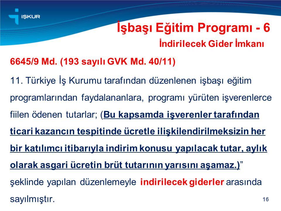 16 İşbaşı Eğitim Programı - 6 İndirilecek Gider İmkanı 6645/9 Md. (193 sayılı GVK Md. 40/11) 11. Türkiye İş Kurumu tarafından düzenlenen işbaşı eğitim
