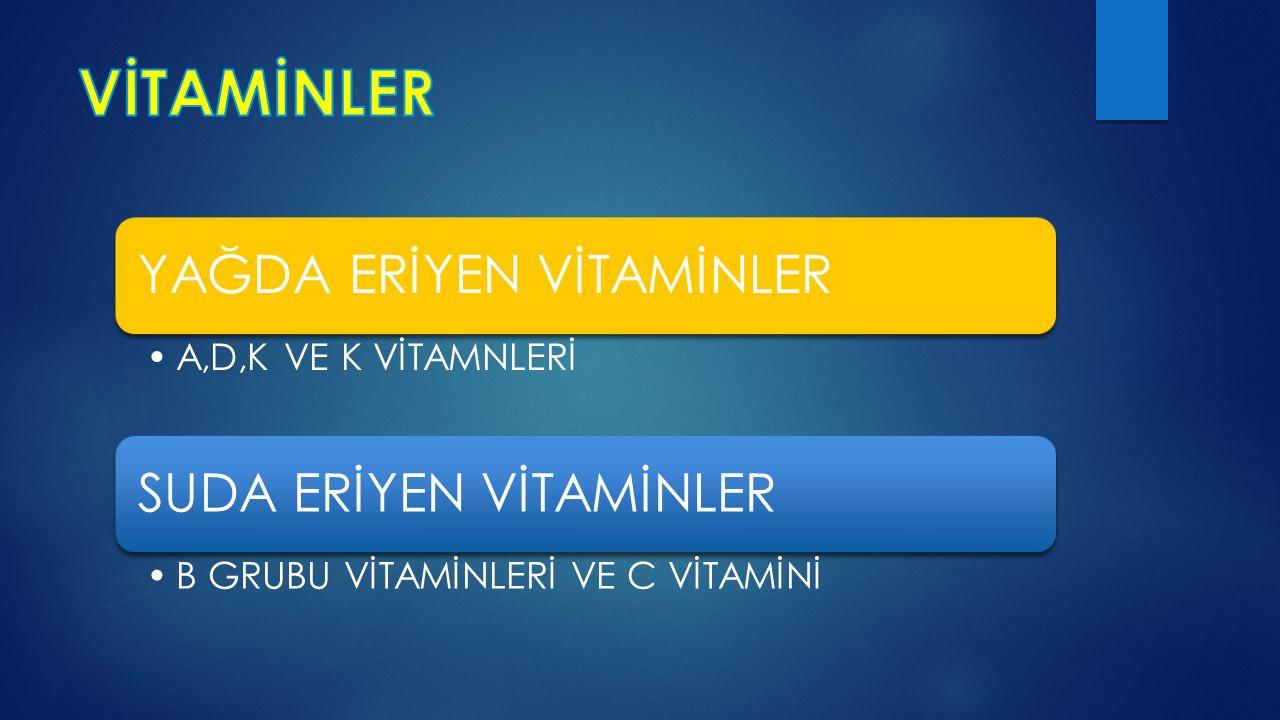 YAĞDA ERİYEN VİTAMİNLER Eğer vücutta yağ metabolizması bozulursa veya besinlerde yağ bulunmazsa, vücut bu vitaminlerden yararlanamaz.