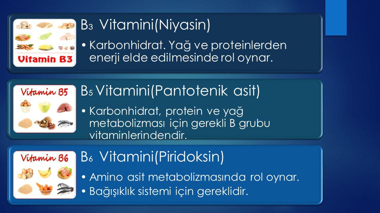 B 7 Vitamini(Biotin) Yağ üretimi ve yağ asitlerinin yapılması için gereklidir.