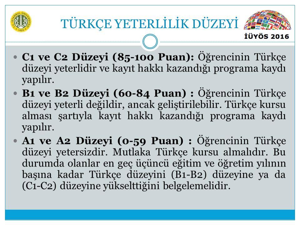 TÜRKÇE YETERLİLİK DÜZEYİ C1 ve C2 Düzeyi (85-100 Puan): Öğrencinin Türkçe düzeyi yeterlidir ve kayıt hakkı kazandığı programa kaydı yapılır. B1 ve B2