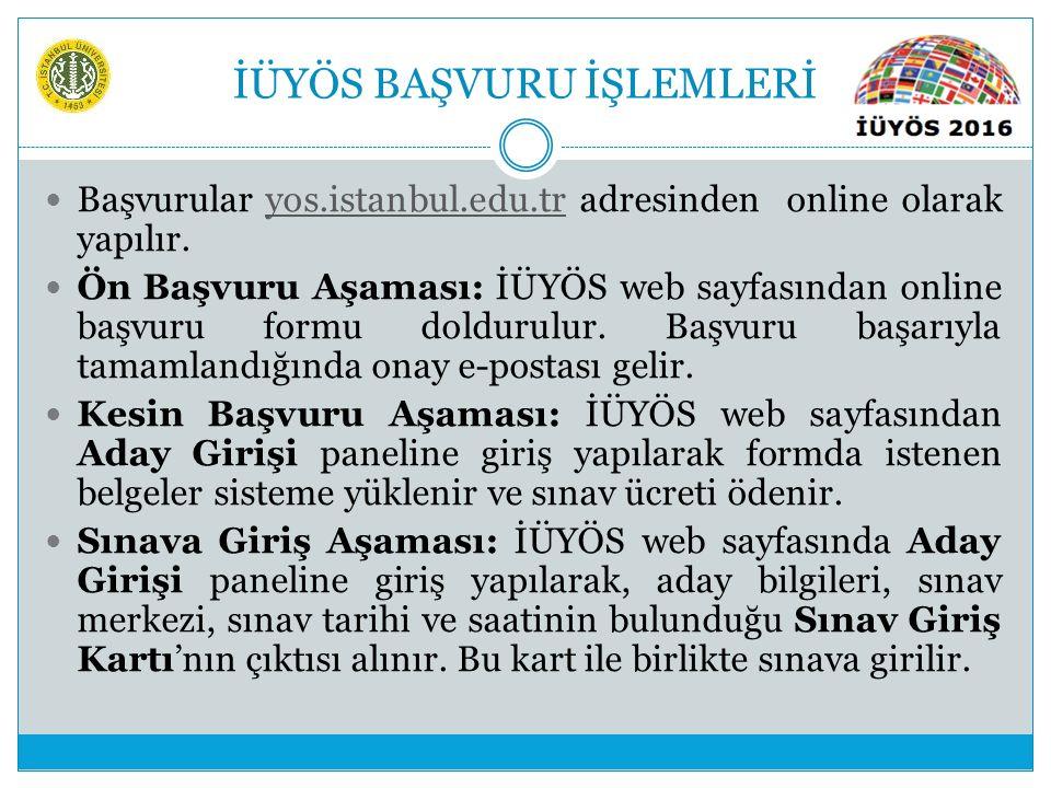 İÜYÖS BAŞVURU İŞLEMLERİ Başvurular yos.istanbul.edu.tr adresinden online olarak yapılır. Ön Başvuru Aşaması: İÜYÖS web sayfasından online başvuru form