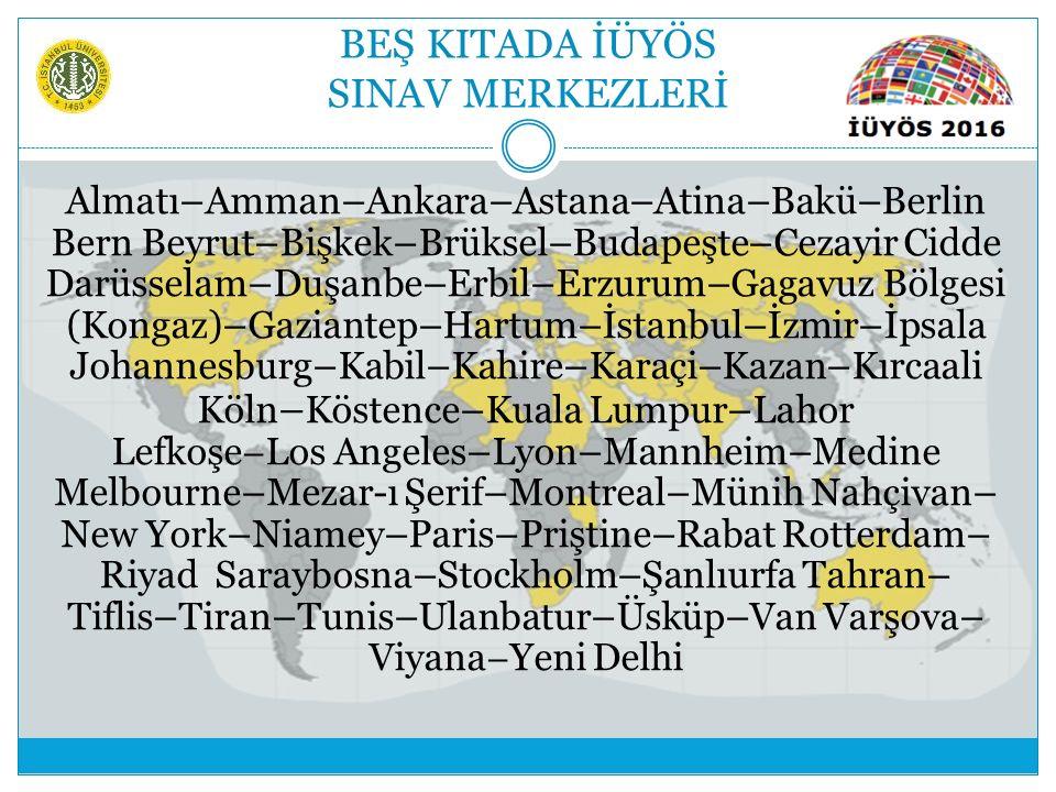 BEŞ KITADA İÜYÖS SINAV MERKEZLERİ Almatı–Amman–Ankara–Astana–Atina–Bakü–Berlin Bern Beyrut–Bişkek–Brüksel–Budapeşte–Cezayir Cidde Darüsselam–Duşanbe–E