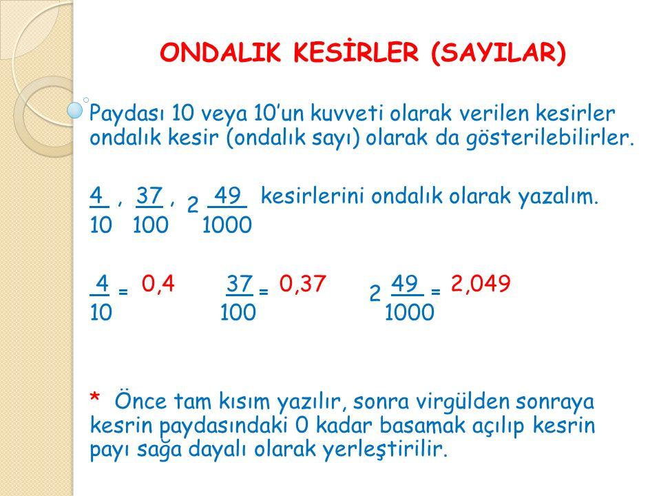 ONDALIK KESİRLER (SAYILAR) Paydası 10 veya 10'un kuvveti olarak verilen kesirler ondalık kesir (ondalık sayı) olarak da gösterilebilirler.