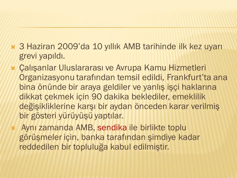  3 Haziran 2009'da 10 yıllık AMB tarihinde ilk kez uyarı grevi yapıldı.  Çalışanlar Uluslararası ve Avrupa Kamu Hizmetleri Organizasyonu tarafından