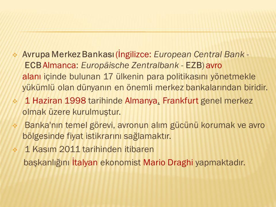  Avrupa Merkez Bankası (İngilizce: European Central Bank - ECB Almanca: Europäische Zentralbank - EZB) avro alanı içinde bulunan 17 ülkenin para poli