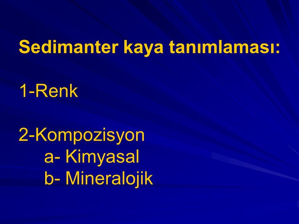 Sedimanter kaya tanımlaması: 1-Renk 2-Kompozisyon a- Kimyasal b- Mineralojik