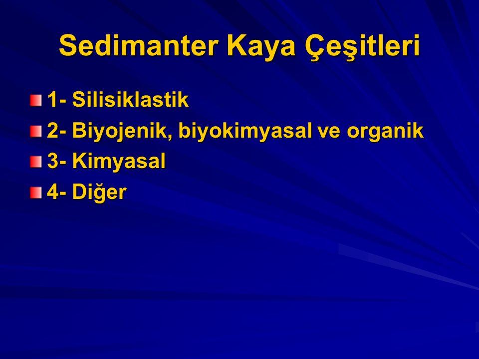 Sedimanter Kaya Çeşitleri 1- Silisiklastik 2- Biyojenik, biyokimyasal ve organik 3- Kimyasal 4- Diğer