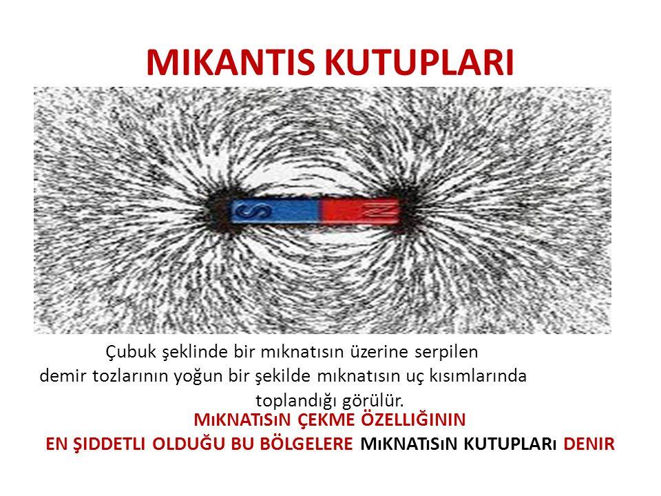 MIKANTIS KUTUPLARI Çubuk şeklinde bir mıknatısın üzerine serpilen demir tozlarının yoğun bir şekilde mıknatısın uç kısımlarında toplandığı görülür. Mı